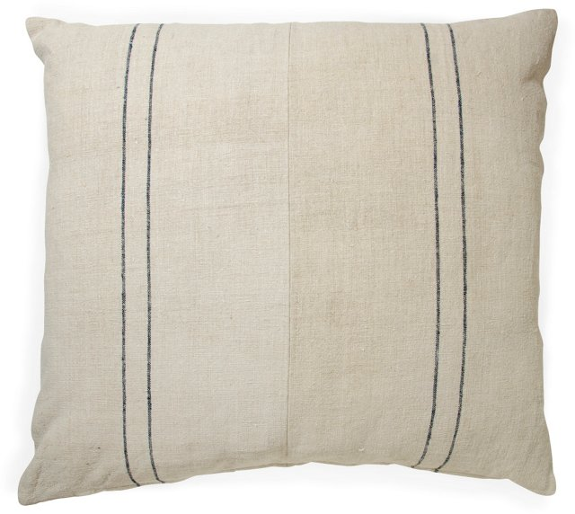 2-Sided French Striped Linen Pillow