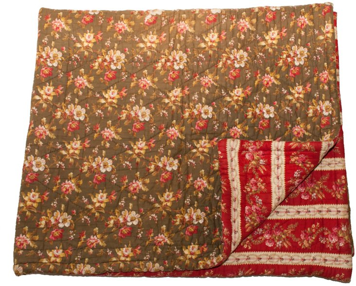French Provençal Throw, Red & Green