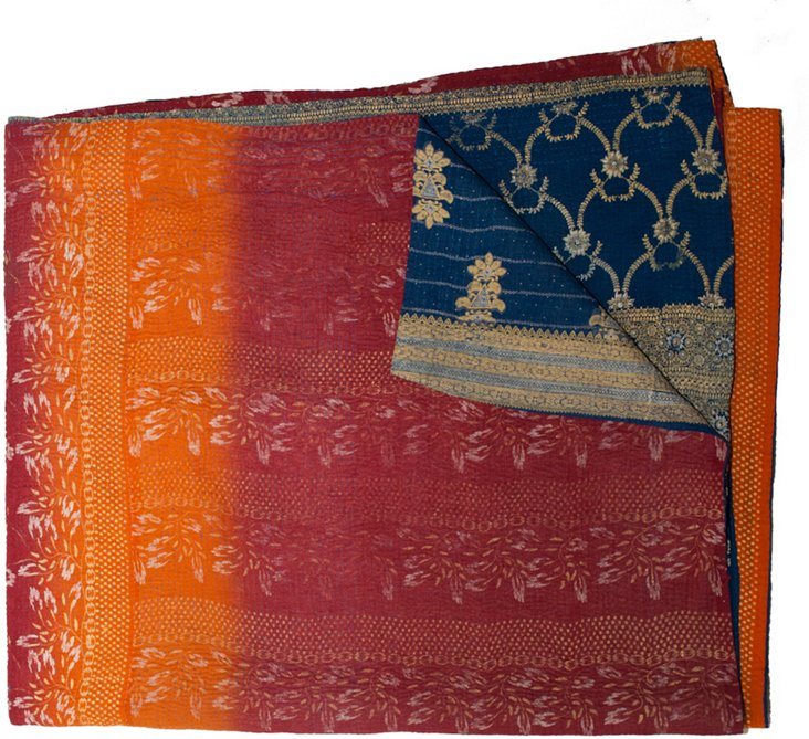Bengali Cotton Cover, Orange & Blue