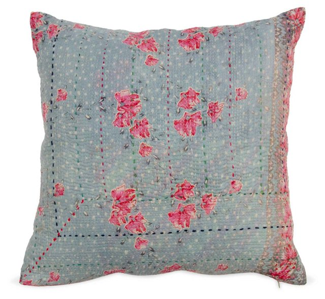 Vintage Flower Striped Red Pillow