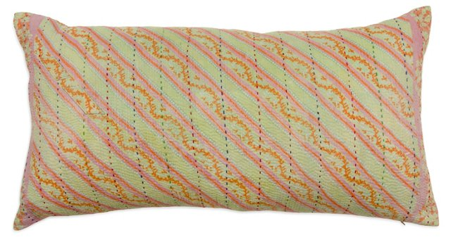 Solid & Vintage Striped Pillow I