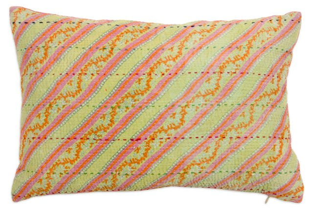 Solid & Vintage Striped Pillow III