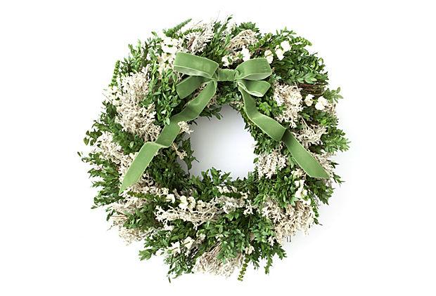Boxwood & Larkspur Wreath