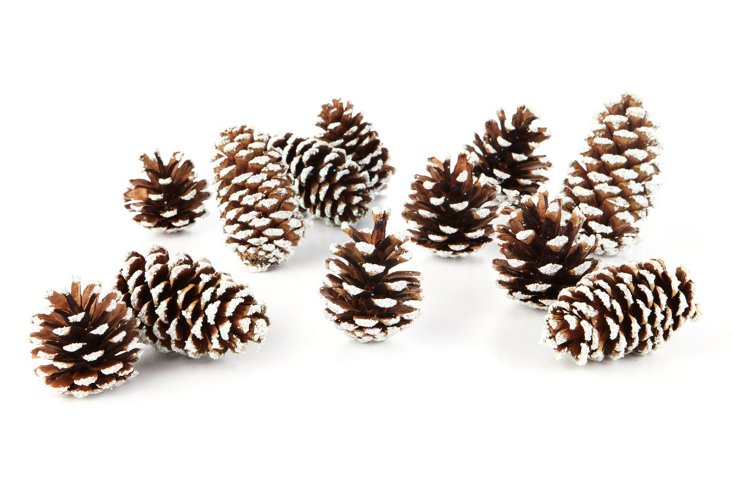 """S/24 5"""" Sparkle-Tipped Cones, White"""