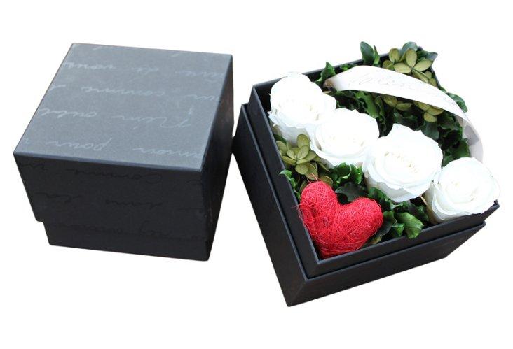 Valentine Rose Box, White
