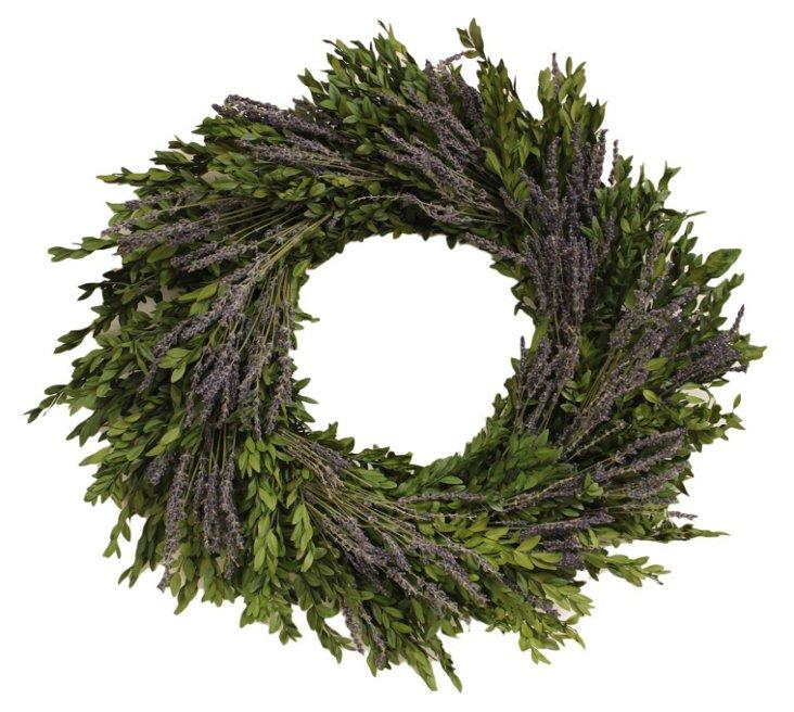 "22"" Boxwood & Lavender Wreath, Dried"