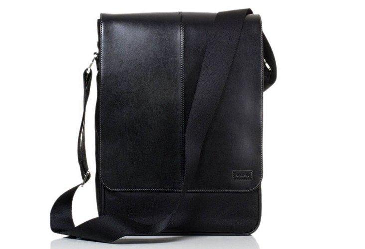 Leather Messenger Bag, Black