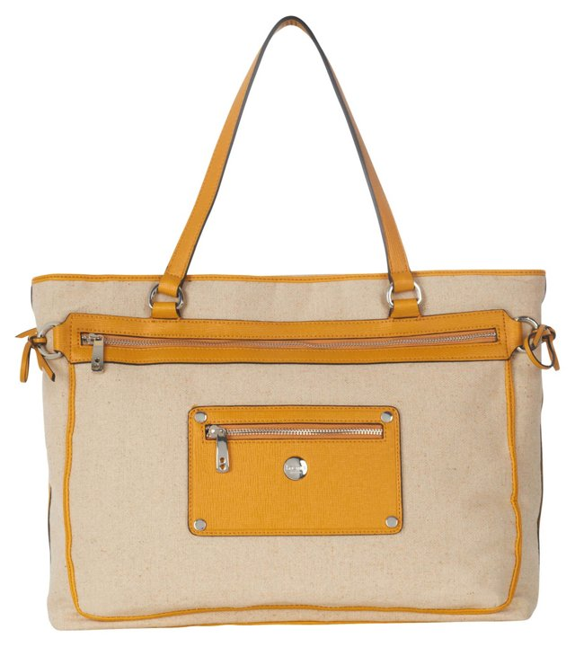"13"" Laurel Trimmed Tote, Yellow"