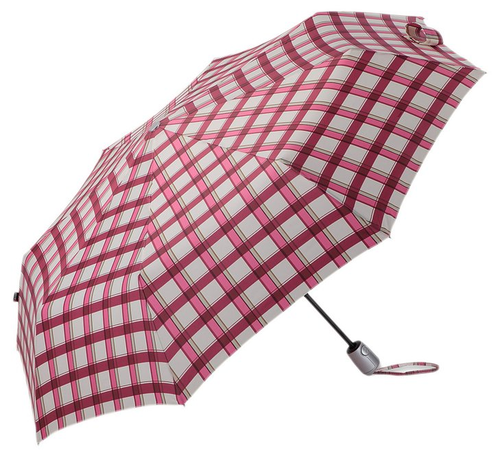 Compact Umbrella, Pink Check
