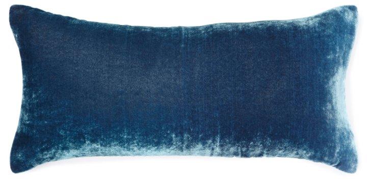 Ombré 8x16 Velvet Pillow, Shark Blue