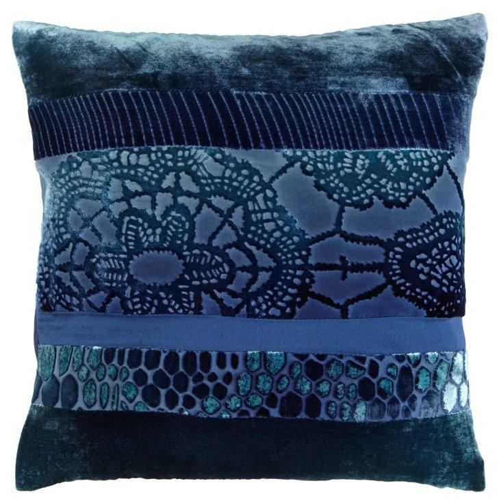 Patchwork 16x16 Pillow, Shark Blue