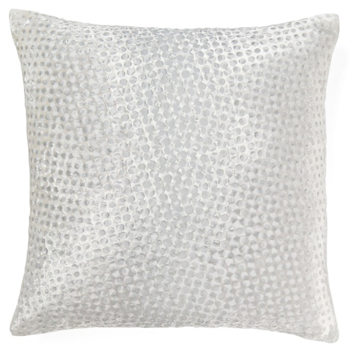 Dot 16x16 Silk-Blend Pillow, White