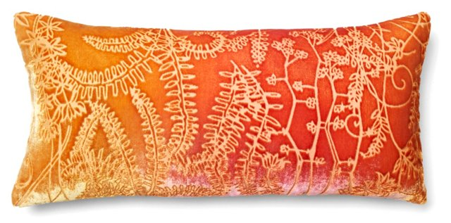 Botanic 7x15 Velvet Pillow, Pink Gold