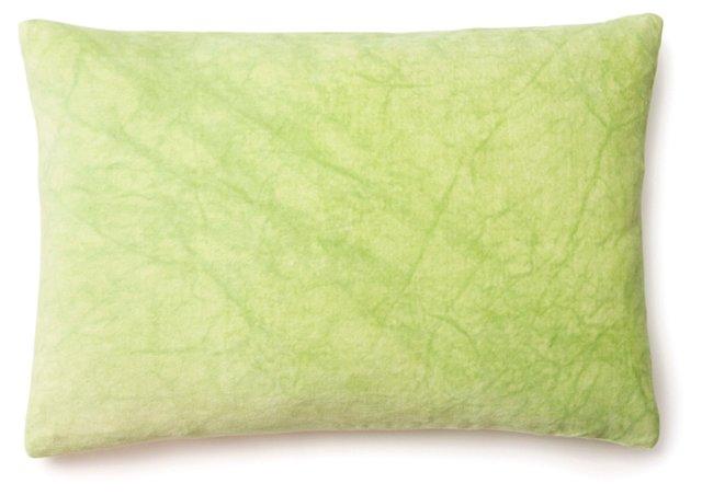 Marbled 14x20 Velvet Pillow, Lime