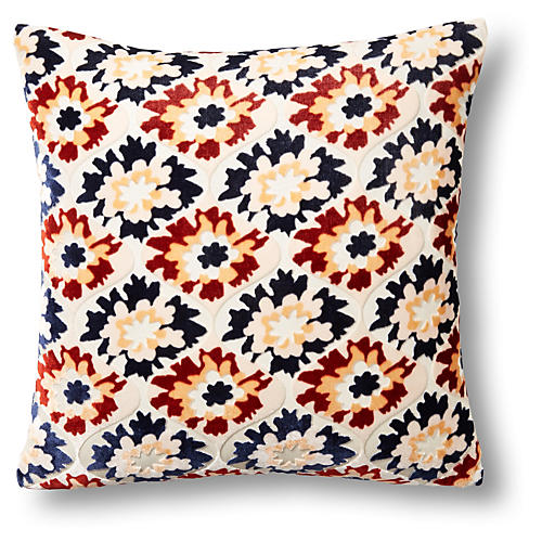 Puff Flower 16x16 Velvet Pillow, White