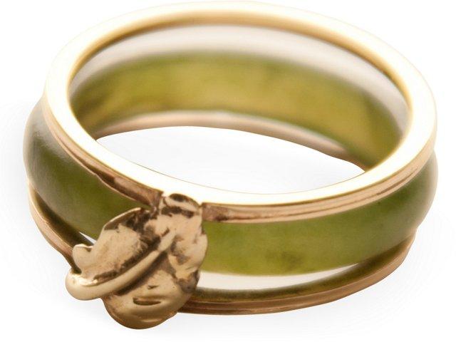 18K Gold Ring w/ Jade Insert