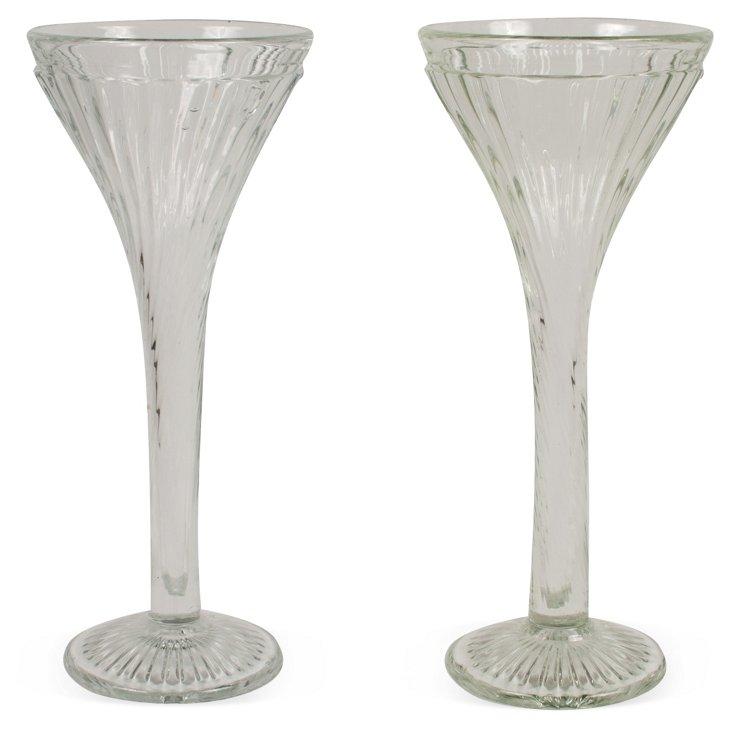 Trumpet Glass Vases, Pair