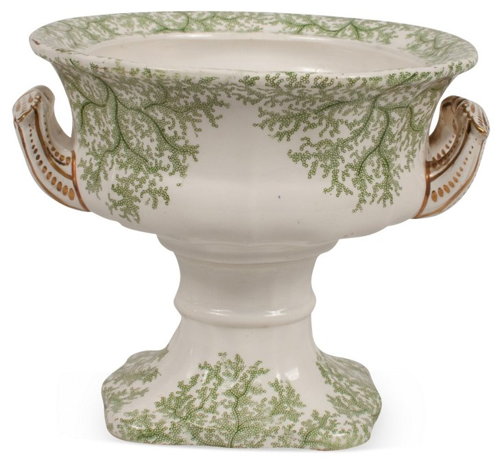 Antique Seaweed Porcelain Compote