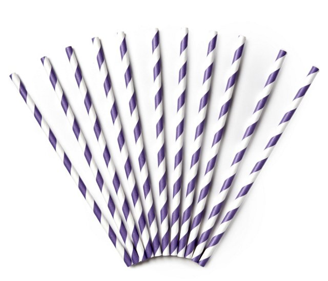 S/50 Striped Straws, Purple