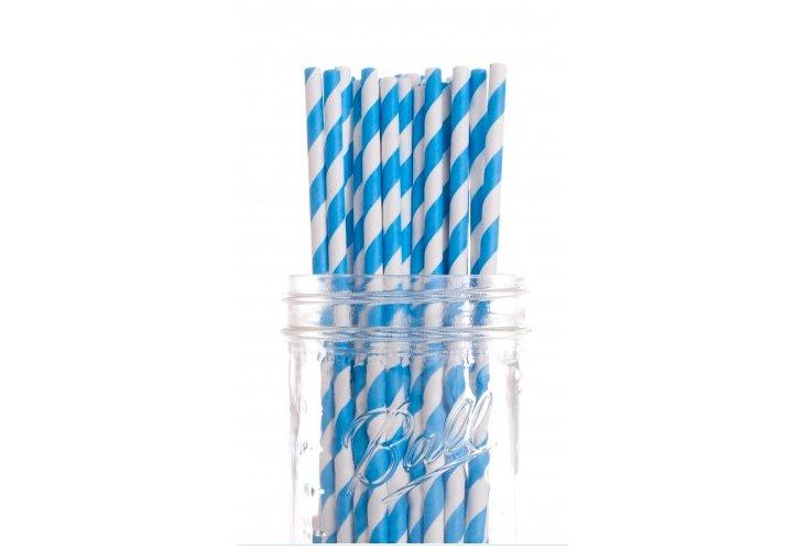 S/50 Striped Straws, Blue