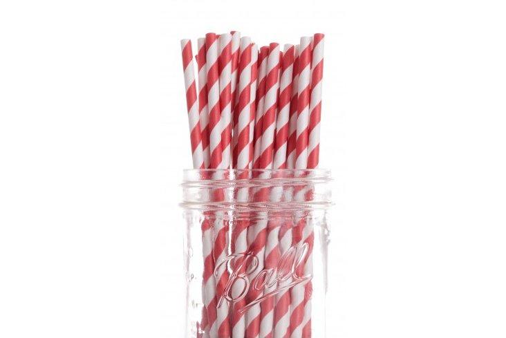 S/50 Striped Straws, Red