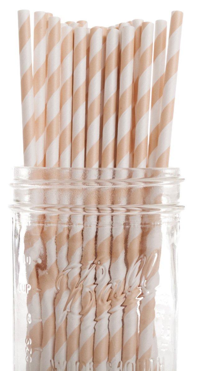 S/50 Striped Straws, Ivory