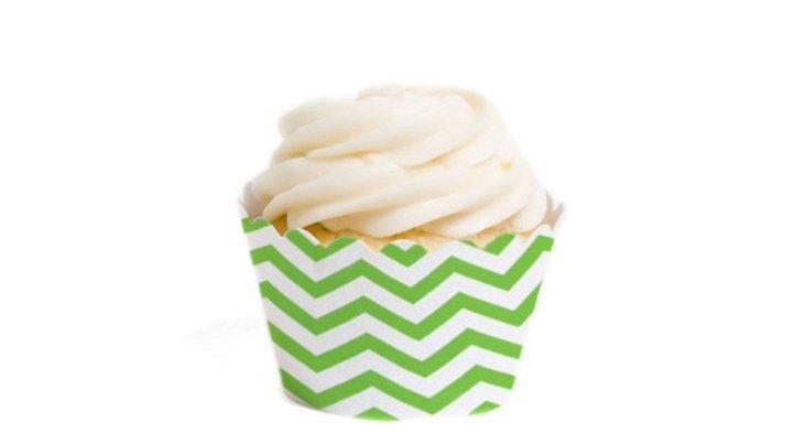 S/36 Chevron Mini Cupcake Liners, Kiwi
