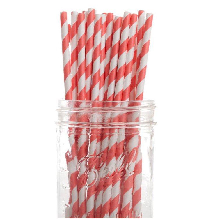 S/50 Striped Straws, Coral