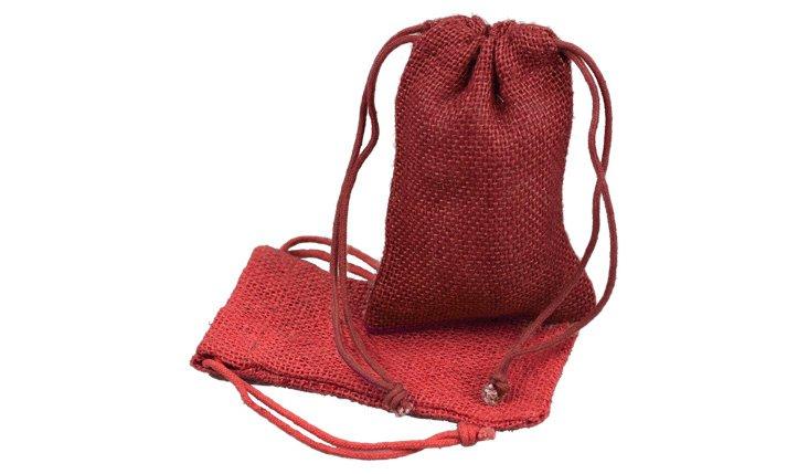 S/12 Lg Vintage Favor Bags, Burgundy