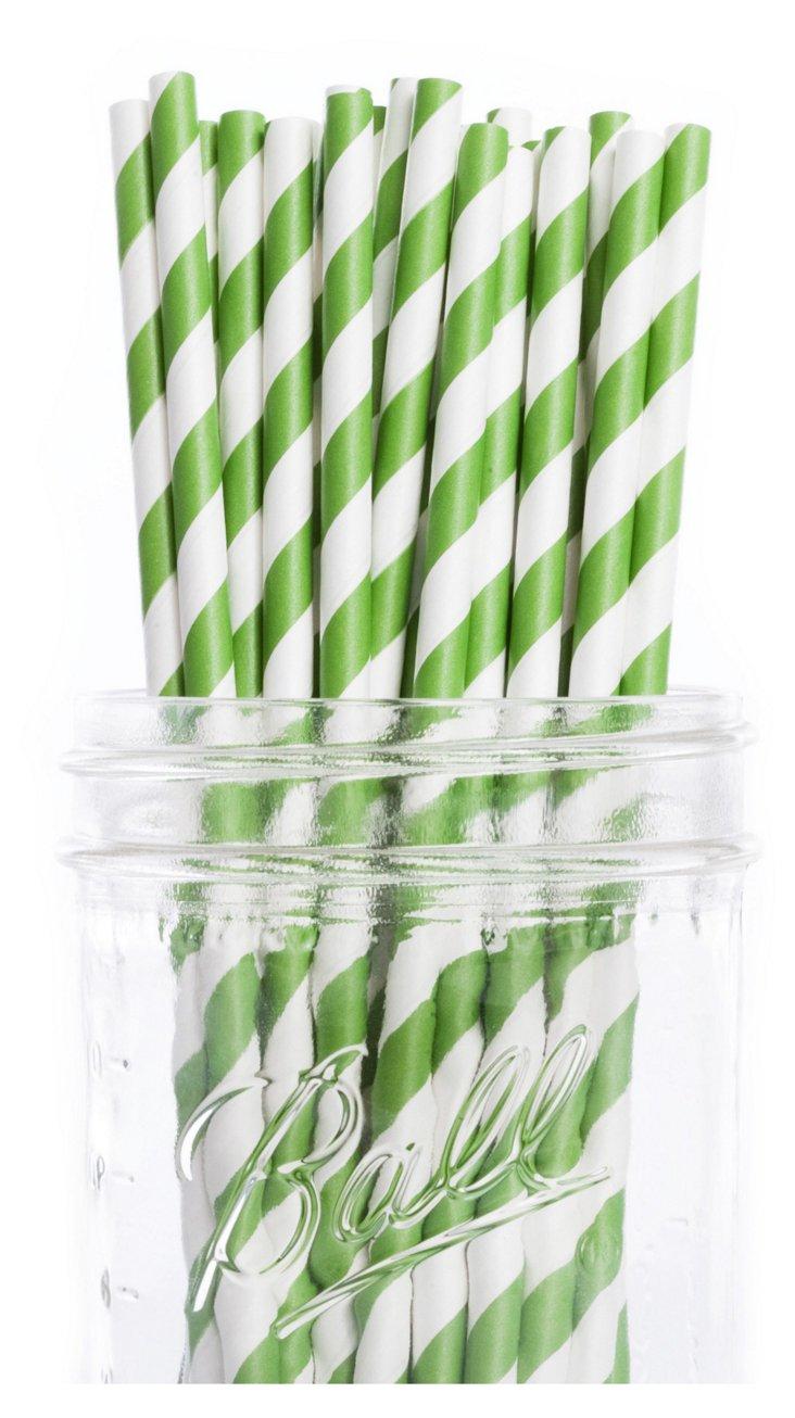 S/50 Striped Straws, Green