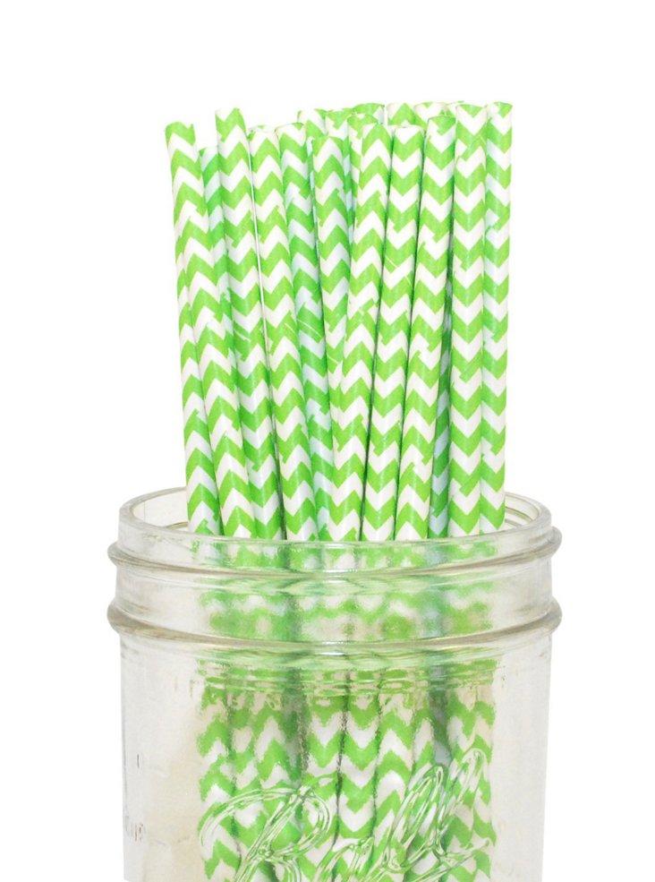 S/50 Chevron Straws, Lime Green