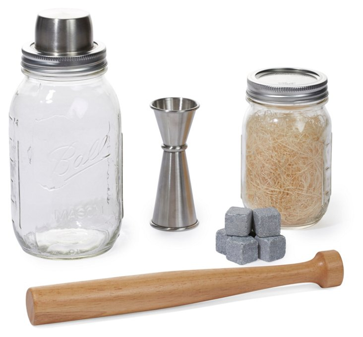 4-Pc Mason Jar Shaker Set w/ Stones