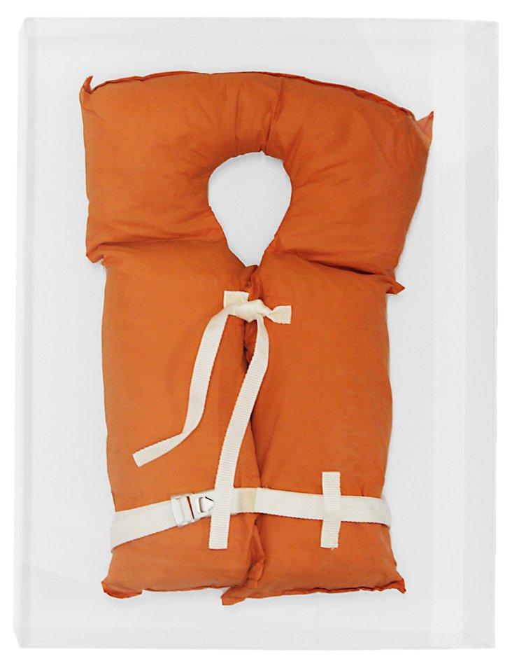 Vintage Orange Life Jacket in Lucite