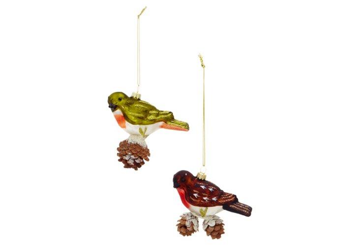 Box of 2 Glass Bird Ornaments