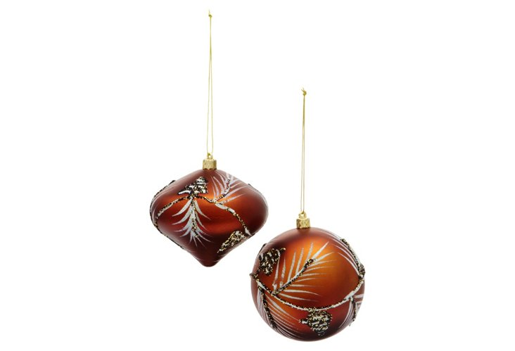 Copper Pine Needle Ornaments, Asst. of 2