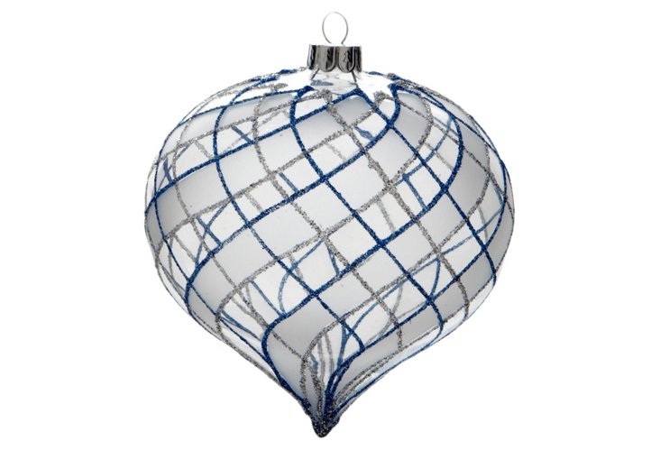 S/2 Frosted Ornaments, Blue