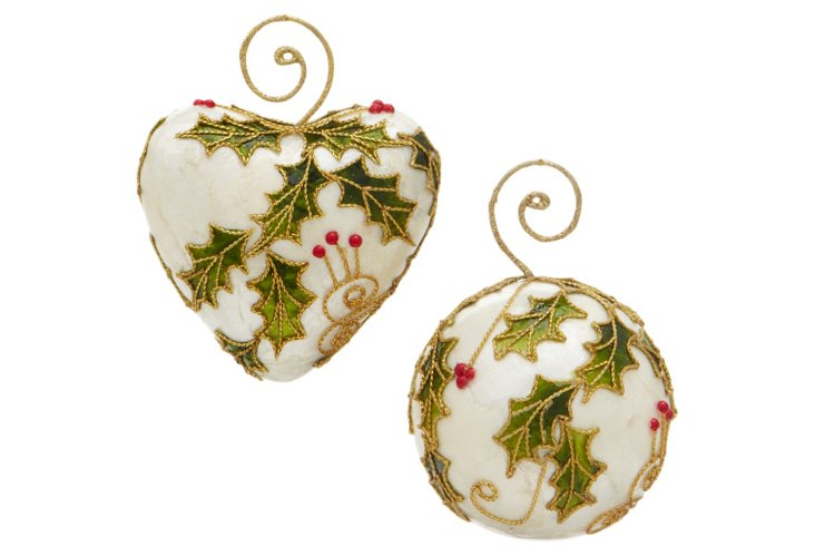 S/2 Holly Leaf Ornaments