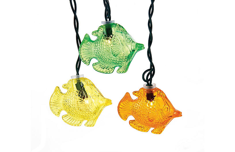 10 light fish string lights multi outdoor lighting for Fish string lights