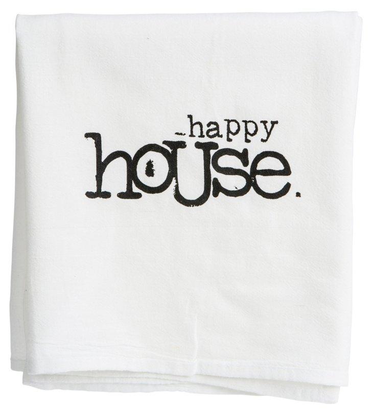 "S/2 ""Happy House"" Tea Towels, Black"