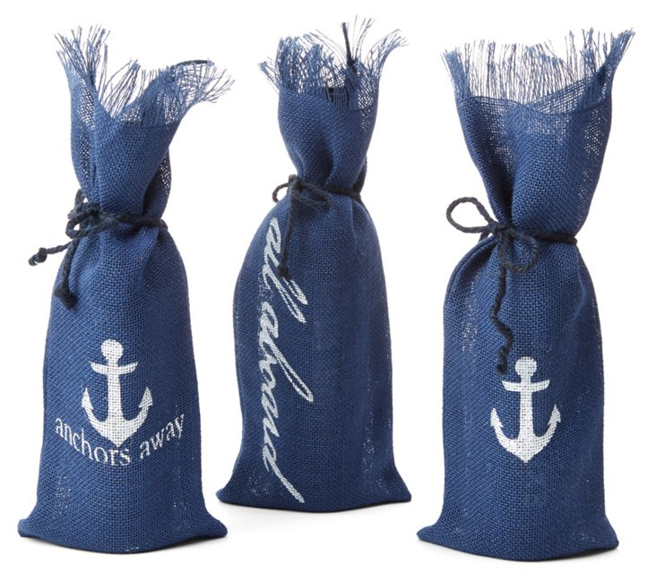 "S/3 Assorted ""All Aboard"" Wine Bags"