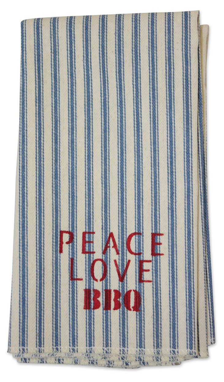 "S/4 ""Peace Love BBQ"" Ticking Napkins"