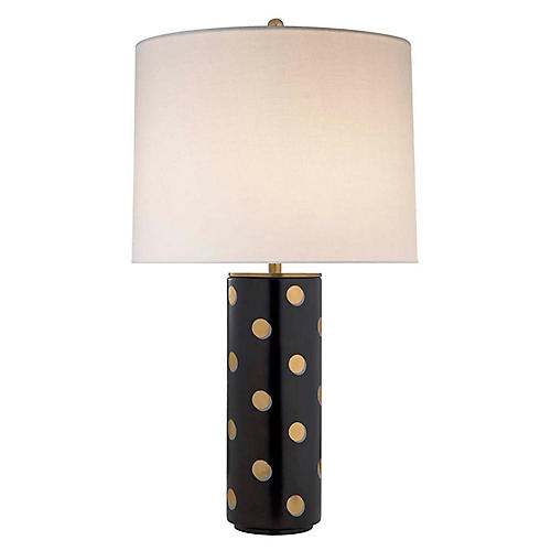 Pavillion Dot Cylinder Table Lamp, Satin Black