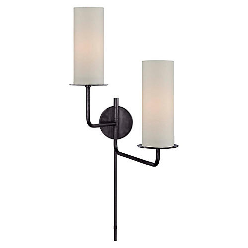 Larabee Double Swing-Arm Sconce, Gunmetal
