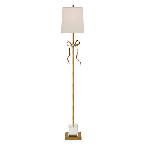 Ellery Floor Lamp, Soft Brass/Cream