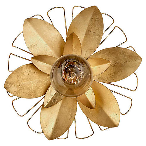 Keaton Mixed Floral Sconce, Gild
