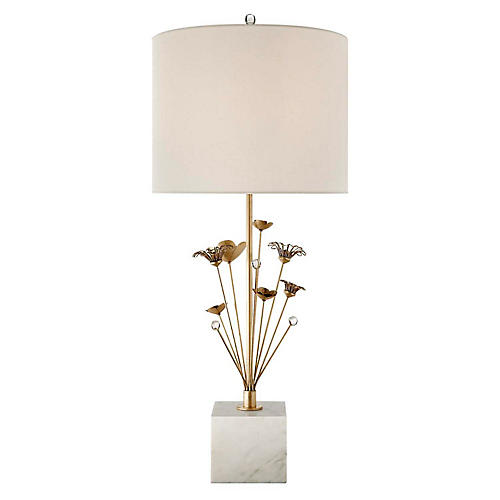 Keaton Bouquet Table Lamp, White Marble/Cream