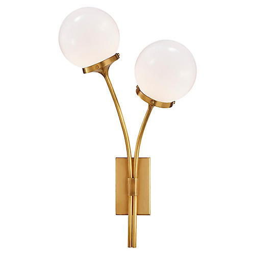 Prescott Right Sconce, Soft Brass/White