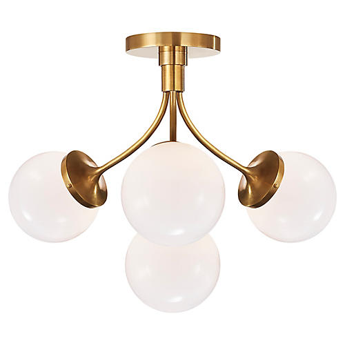 Prescott Semi-Flush Mount, Brass/White