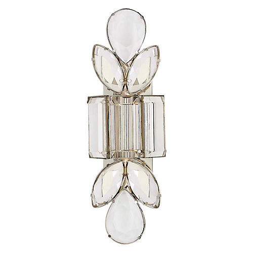 Lloyd Large Sconce, Polished Nickel/Crystal