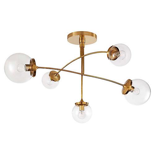 Prescott Medium Mobile Chandelier, Brass/Clear